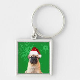Christmas Bullmastiff puppy Key Ring