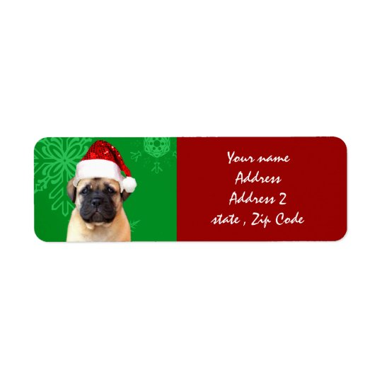 Christmas bullmastiff puppy return address label