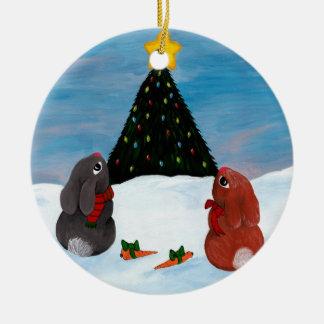 Christmas Bunnies Ceramic Ornament