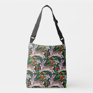Christmas Bunny Rabbit Berries Colorful Tote Bag