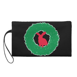 Christmas Bunny Rabbit in a Wreath Wristlet