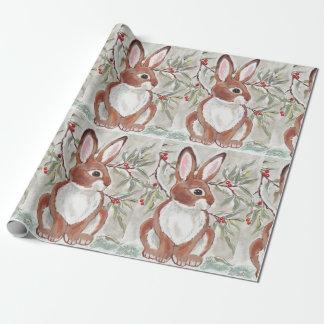 Christmas Bunny Rabbit Winter Snowy Gift Wrap