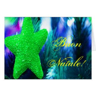 Christmas Buon Natale Green Christmas Star II Greeting Card