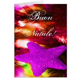 Christmas Buon Natale Purple Christmas Star III Greeting Card