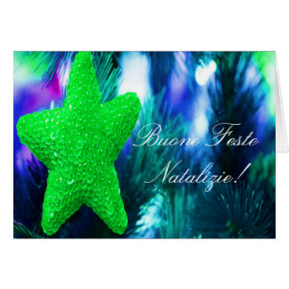 Christmas Buone Feste Natalizie Green Star II Greeting Card