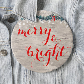 Christmas Button Typography Merry & Bright
