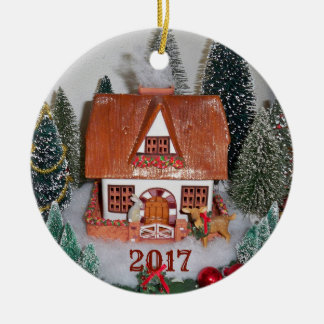 Christmas Cabin Deer Woods Rustic Vintage Ornament