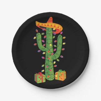 Christmas Cactus Feliz Navidad paper plates
