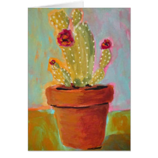 Christmas Cactus in a Clay Pot Blank Greeting Card