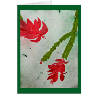 Christmas Cactus watercolor Card