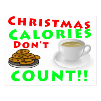 Christmas Calories Don't Count Humour Funny Postcard