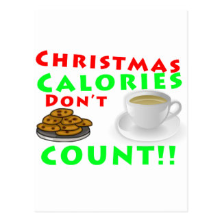 Christmas Calories Don't Count Humour Funny Post Cards