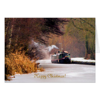 CHRISTMAS CANAL BOATS UK GREETING CARDS