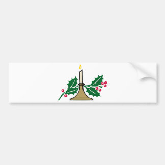 christmas candle and berries bumper sticker