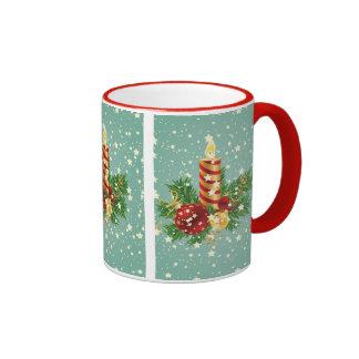 Christmas Candle And Snowflakes Ringer Mug