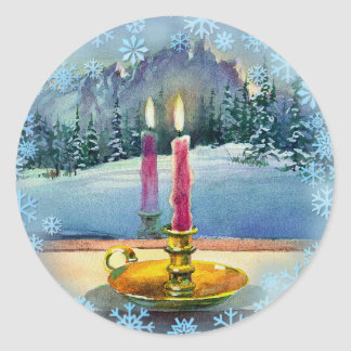 CHRISTMAS CANDLE by SHARON SHARPE Classic Round Sticker