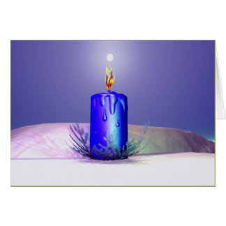 Christmas Candle Night Blue Card