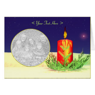 Christmas Candle Night Red Greeting Card