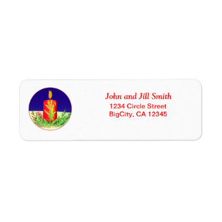 Christmas Candle Night Red Return Address Label