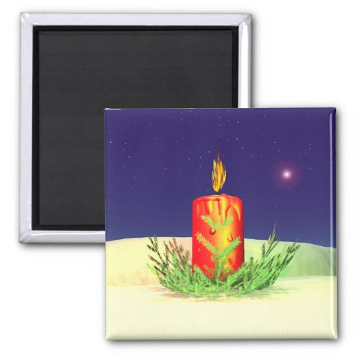 Christmas Candle Night Red Fridge Magnet