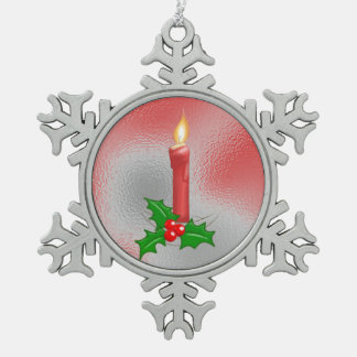 Christmas Candle Red Pewter Snowflake Ornament Pewter Snowflake Decoration