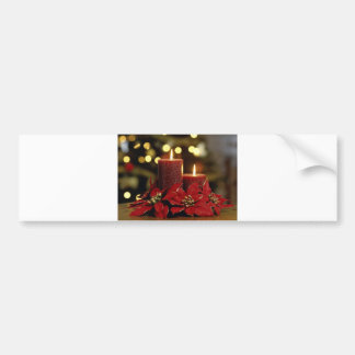 Christmas Candles and Flowers Bumper Stickers