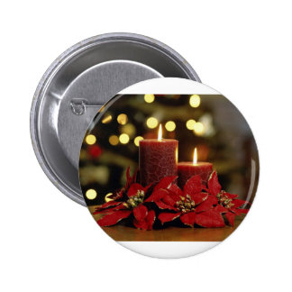 Christmas Candles and Flowers Pin