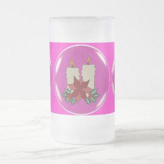 CHRISTMAS CANDLES FROSTED GLASS MUG