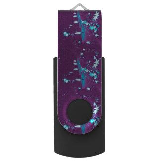 christmas candles purple swivel USB 2.0 flash drive
