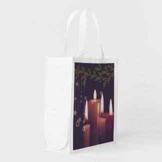 christmas candles reusable grocery bag
