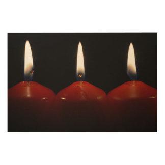 Christmas candles wood wall art
