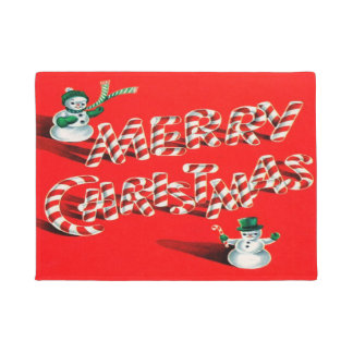 Christmas Candy Cane And Snowman Doormat