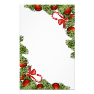Christmas candy cane and tree detail stationary stationery