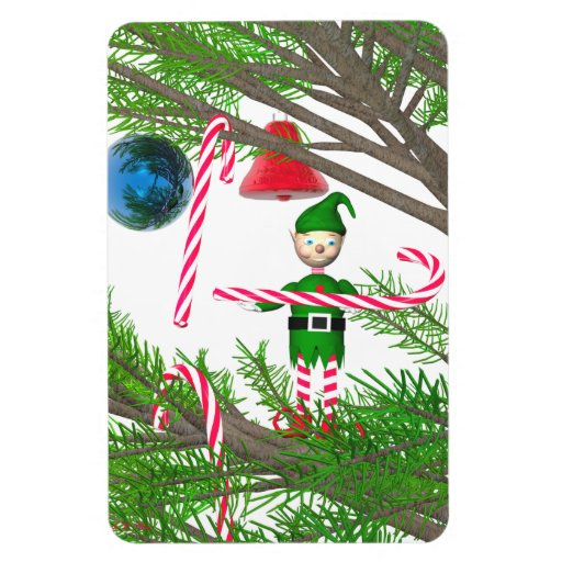 Christmas Candy Cane Elf Flexible Magnets