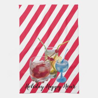 Christmas candy cane happy hour tea towel