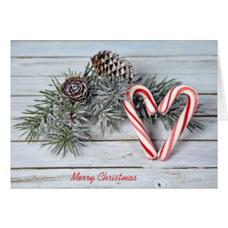 Christmas candy cane heart and pine card