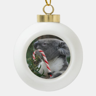 Christmas Candy Cane Koala Ceramic Ball Christmas Ornament