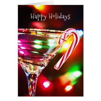 Christmas candy cane on martini glass card