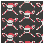 Christmas Candy Cane Pirate Skull Fabric
