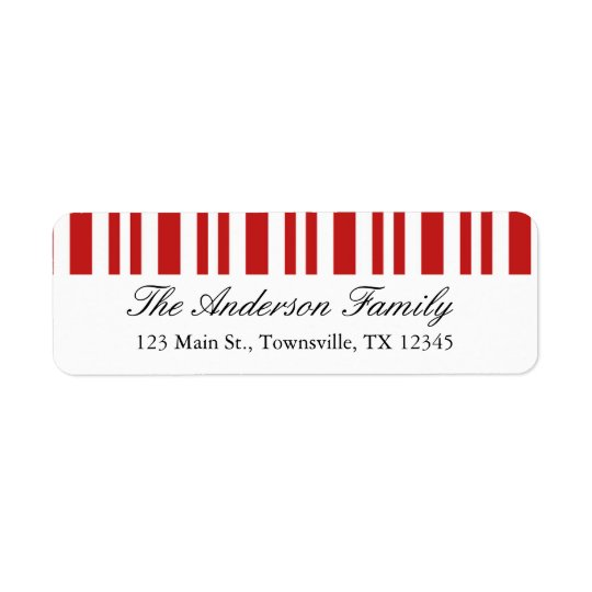 Christmas Candy Cane Return Address Label
