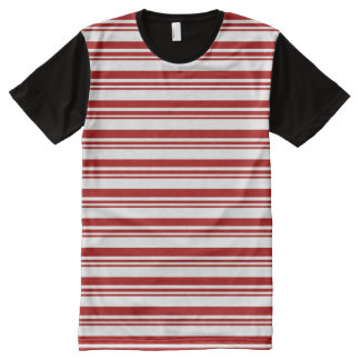 Christmas Candy Cane Stripes All-Over Print T-Shirt