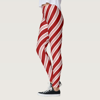 Christmas candy cane stripes Leggings