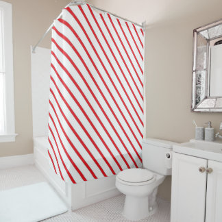 Christmas Candy Cane Stripes Pattern Shower Curtain