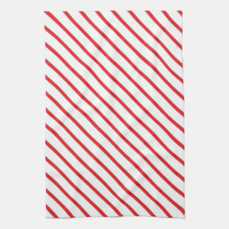 Christmas Candy Cane Stripes Pattern Tea Towels