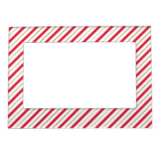 Christmas Candy Cane Stripes Red and Faux Gold Magnetic Picture Frame