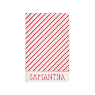 Christmas Candy Cane Stripes Red/Faux Gold Journal