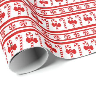 Christmas Candy Cane Stripes Wrapping Paper