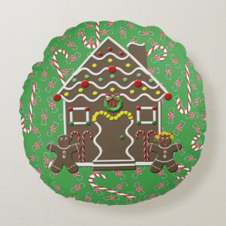 Christmas Candy Canes And Gingerbread House Round Cushion