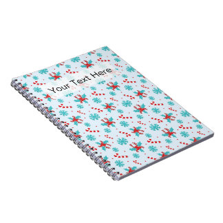 Christmas Candy Canes and Snowflakes Spiral Notebook