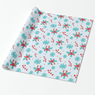 Christmas Candy Canes and Snowflakes Wrapping Paper